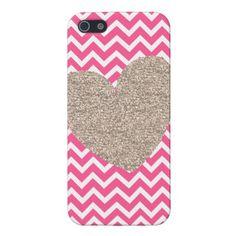 Glitter Heart and Chevron iPhone 5 Case