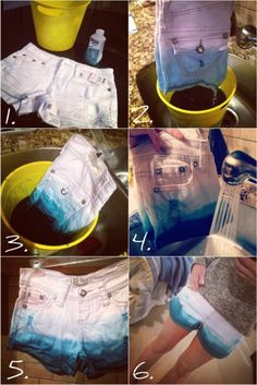 DIY ombre shorts- instead of white denim, I believe you could take regular shorts and bleach 'em ; Dip Dye Shorts, Diy Shorts, Diy Jeans, Diy Ombre, Do It Yourself Jeans, Do It Yourself Fashion, Shorts Tutorial, Diy Tutorial, Cool Diy