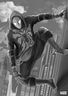 my homework form drawing class concept come form spidy in civil war,they said the suit is something that high school kids can made it so i go on with this i used spider gwen,superior spidy and noir...