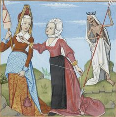 Bibliothèque nationale de France, Français 143, f.14v (the Fates). Evrart de Conty, Le livre des échecs amoureux moralisés. Cognac, 1496-1498. Artist: Robinet Testard.