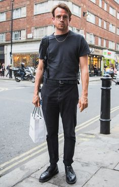 Street Style Photographs by FashionBeans: Johnnie Men's Street Style Photography, Dr Martens Outfit, Daily Fashion, Mens Fashion, Smart Casual Wear, How To Pose, Men Looks, Business Fashion, Shirt Outfit