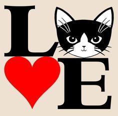 Amo los gatos en negro y rojo 8 x 10 Art Print por cathypeng                                                                                                                                                                                 Más