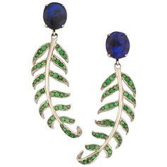 Preowned Opal Tsavorite Garnet Gold Fern Earrings ($3,100) ❤ liked on Polyvore featuring jewelry, earrings, drop earrings, green, opal earrings, yellow gold drop earrings, gold opal earrings, green earrings and stud earrings
