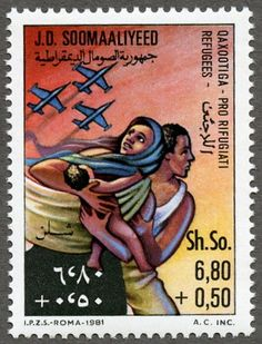 Somalian postage stamp from 1981 featuring plight of refuges Postage Stamp Design, Postage Stamps, Postage Stamp Collection, Old Stamps, Stamp Pad, Small Art, Stamp Collecting, Somali, Travel Posters