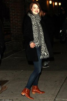 Emma Stone wearing Loeffler Randall Felix Leather Ankle Boots and Madewell Color Shift Scarf