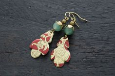 Red and Jade Vintage Tin Earrings