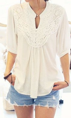 cc997d5eb55c Spring   Summer - street chic style - boho chic style - cream embroidered  quarter cuff sleeve blouse with front gather - unfinished hem denim shorts