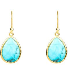 Latelita London - Petite Drop Earring Gold Turquoise (£51) ❤ liked on Polyvore featuring jewelry, earrings, gold drop earrings, turquoise drop earrings, yellow gold earrings, blue earrings and black gold earrings