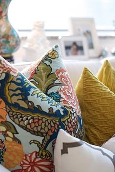 Chaing Mai Dragon by Schumacher fabric pillows... yellows fabulous as well. from caitlin wilson