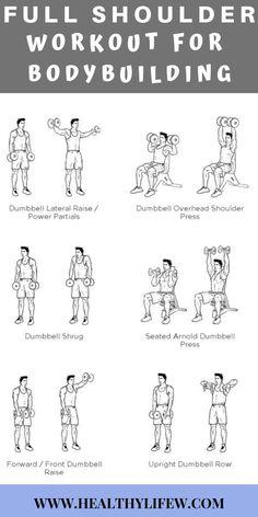Workout Plan 7 FULL SHOULDER WORKOUT FOR BODYBUILDING - Ever wаntеd full shoulder workout that will give you a monstrous shoulder look? Find out what you need to do for full shoulder workout for bodybuilding. Shoulder Workouts For Men, Back Workout Men, Chest Workout For Men, Back And Shoulder Workout, Gym Workout Tips, Biceps Workout, Arm Workouts For Men, Shoulder Workout Dumbells, Dumbell Workout Back