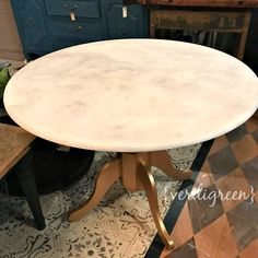 Before & After - How to paint a table to look like a Marble Top Gold Base Custom Table Finish | Chalk Paint® by Annie Sloan | Verdigreen™ #DIY #chalkpaint