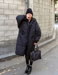 ❤️ Pudded oversize coat + beanie + ankle boots  ❤️ Total look