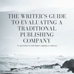 About once a week, I get an e-mail from someone asking me to recommend a traditional publisher for them. I can't because I have no idea what that person wants in a publisher, what that person is currently writing, and what's going on within all the different traditional publishing houses.