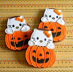 Super cute Hello Kitty Jack-o-lantern Cookies