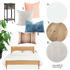 This white bedroom design with peach and indigo accents is perfect for that California Bungalow feel we all know and love. Indigo Bedroom, Peach Bedroom, Linen Bedroom, Peach Curtains, White Sheer Curtains, Window Treatments Living Room, Living Room Windows, Diy Window Blinds, Linen Roman Shades