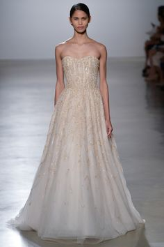 Bejewelled blush toned wedding dress from Amsale.