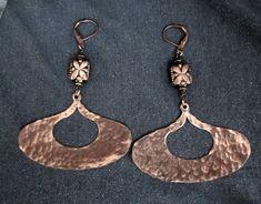 dangle earrings, copper earrings, copper jewelry, large earrings, tribal earring, big earrings, hammered earrings, women's earrings