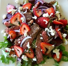 Healthy Spring Delight: Steak Salad with Strawberries Recipe. Try this fresh and healthy salad that is brimming with all of the spring flavors that you love