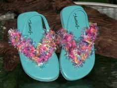 Toddler Girls Flip Flop Sandals with Yarn Trim by Shelly6262, $8.95