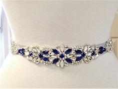 Wedding Belt, long Jeweled Part, Wedding Bridal Sash Belt - Lucky Blue Opal Clear Crystal Pearl Wedding Sash Belt = 22 inch long trim