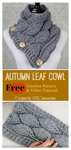 Autumn Leaf Button Cowl Free Crochet Pattern And Video Tutorial Art Gifts