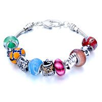 Pugster Metal And Murano Glass Mixed Beads Style Pandora Charm Bracelet$49.99