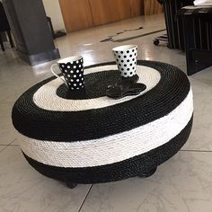 Black & White Tire Side Table