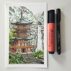 Sorting out some old drawings so I can start getting more prints available to buy on my website... #art #drawing #pen #sketch #illustration #linedrawing #japan #architecture #seigantojitemple #japanesearchitecture #temple #printsforsale #prints
