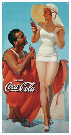 A vintage Coca-Cola ad in the style of the was designed merging a pin up girls illustration with a simple typography. Coca Cola Poster, Coca Cola Ad, Always Coca Cola, Retro Ads, Vintage Advertisements, Vintage Ads, Poster Vintage, Vintage Metal, Vintage Signs