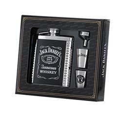 Flask funnel is engraved with Jack Daniel's logo. stainless steel ribbed hip flask with captive top. Two stainless steel shot glasses decorated with Jack Daniel's logos. Gift set for the Jack Daniel's fan.