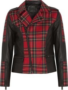 Karl Lagerfeld For Net-a-Porter: Vicious leather-trimmed tartan wool biker jacket ($630) Photo courtesy of Net-a-Porter