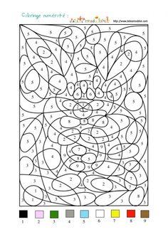 coloriage Jeu de coloriage numéroté : chiffres et animal n°1