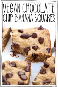 Vegan Chocolate Chip Banana Squares are the perfect after-school snack or easy dessert Just 9 ingredients 1 bowl 30 minutes to make Oil-free dairy-free egg-free itdoesnttastelikechicken veganbaking vegansnack Desserts Végétaliens, Healthy Dessert Recipes, Health Desserts, Gourmet Recipes, Snack Recipes, Egg Free Desserts, Healthy Baking, Chocolate Desserts, Vegan Chocolate Chips