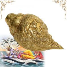 Vishnu Laxmi Shankh Brass Blowing online Sale Vedicvaani.com Get at best price puja Shankh, Brass pooja Shankh emboss Artwork Abhishek Shankh online from India