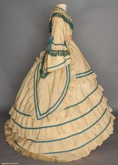 """Cream wool """"visiting dress"""", 1860s 