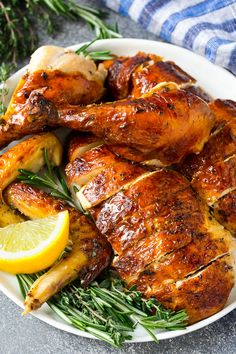 Baked Whole Chicken Recipes, Perfect Baked Chicken Breast, Herb Chicken Recipes, Perfect Roast Chicken, Whole Roasted Chicken, Paleo Crockpot Recipes, Cooking Recipes, Pork Recipes, Entree Recipes