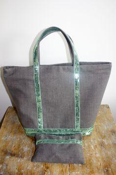 Sac à main / Cabas lin gris à paillettes vert d'eau + pochette : Sacs à main par by-vanessa