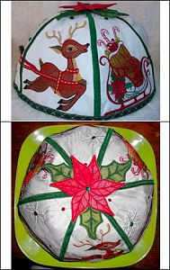 """""""Christmas Plate Cover"""" this set helps you create a festive diplay AND protects your holiday dishes as well. Very cute!"""