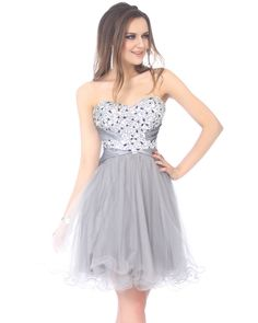 Modern-Chic Tulle Silver A-Line Cocktail Dress