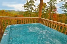 Hot tub on the deck of A Place to Remember, one of our vacation rentals in Gatlinburg Tennessee.