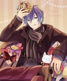 Tags: Anime, Akiyoshi, Vocaloid, KAITO, :P, Bouquet, Licking Lips