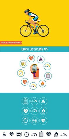 Cyclist & Cycling icons. Human Icons. $4.00