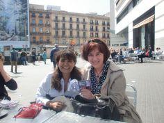 Con María Border, Plaza Cataluña. Abril, 2015