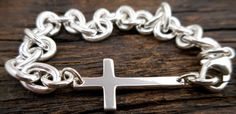 Hey, I found this really awesome Etsy listing at https://www.etsy.com/listing/188239465/sideways-cross-bracelet-sterling-silver