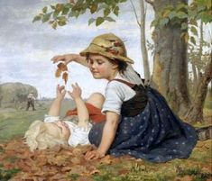 Autumn Play Young Girl Combing Her Hair The Toy Barrow The Little Nurse Christmas Morning The Little Ticket Sellers Teddy Bear Toys, Teddy Bears, B Image, William Adolphe Bouguereau, Beauty In Art, Believe In God, The Kingdom Of God, Illustrations, Photo Archive
