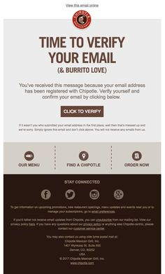 Hey It's Chipotle – Please Confirm Your Subscription - Really Good Emails Email Template Design, Email Newsletter Design, Email Templates, Newsletter Templates, Emma Email Marketing, Email Marketing Design, Email Marketing Strategy, E-mail Design, Email Layout