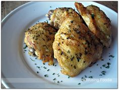 Easy Oven-Fried Chicken Thighs with Perfectly Crispy Skin. This turned out pretty great and eaten quickly. I had to tweak out the green stuff, because I was making due with someone else's kitchen. I would recommend for a simple meal.