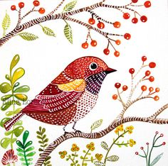 Red Bird Wall Art Print from Original Watercolor Painting / Room Decor / Nursery decor / Woodland New / Red Bird / Bird Art / Original Watercolor Painting / Wall Art / Organic Art / Room Decor / Nursery decor / Woodland via Etsy Watercolor Bird, Watercolor Paintings, Watercolor Techniques, Vogel Quilt, Motifs Animal, Madhubani Art, Bird Quilt, Organic Art, Bird Wall Art