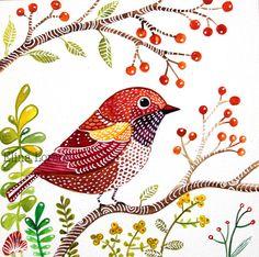 New / Red Bird / Bird Art / Original Watercolor Painting / Wall Art / Organic Art / Room Decor / Nursery decor / Woodland via Etsy