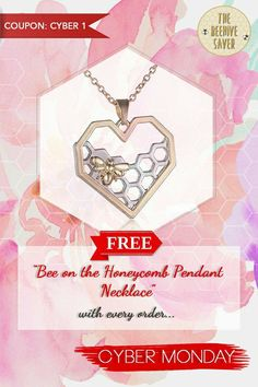 Do you love bees? Show your support for a bee friendly environment and buy any product on our store and get the Bee on the honeycomb necklace free!   PLEASE ADD THIS NECKLACE TO YOUR CART AND USE THE COUPON CYBER 1 WITH YOUR ORDER.